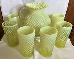Fenton Art Glass Yellow Topaz Opalescent Hobnail Pitcher And 6 Tumblers