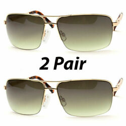 2 Pair Men Classic Sunglasses Metal Driving Glasses Aviator Outdoor Sports Uv400 $13.19
