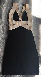 Nwt Bebe Contrast Cutout Halter Bandage Dress Xs Sold Out Hard To Find