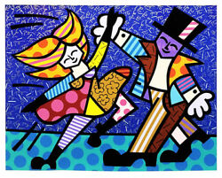 Electric By Romero Britto Serigraph Signed, Numbered - Huge - Dancing Couple