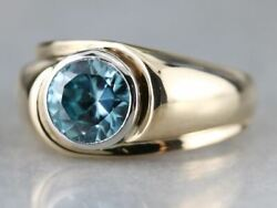 Menand039s Zircon Solitaire Ring In Platinum And Gold