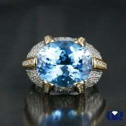 Large 16.14 Ct Natural Blue Topaz Diamond Cocktail Ring Right Hand Ring 18k Gold