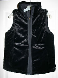 Women's KC Collections L Vest Reversible Faux Mink Fur  Black Quilted