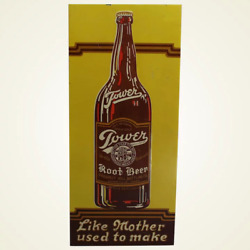Vintage 1920and039s Tower Root Beer Soda Pop Gas Station 19 Embossed Metal Sign