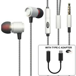 Hi-fi Sound Handsfree Headset Mic Earphones With Type-c Adapter For Cell Phones