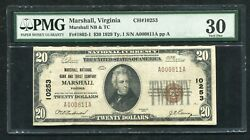 1929 20 Marshall National Bank And Trust Co. Marshall Va Ch. 10253 Pmg Vf-30