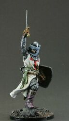 Painted Collectible Tin Soldier 54 Mm. 1/32. Holy Land Knight, Xii-xiii Century