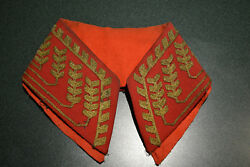 Antique Napoleonic Wars Russian Officer Embroidered Red Coat Uniform Collar Part