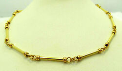 Authentic 22k Yellow Gold Best Gift Item Round Bar Link Chain Necklace 20 Long