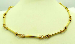 Authentic 22K Yellow Gold Best Gift Item Round Bar Link Chain Necklace 20