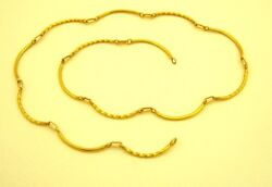 22 K Yellow Gold Handmade Unique Design New Stylish Bar Chain Necklace Jewelry
