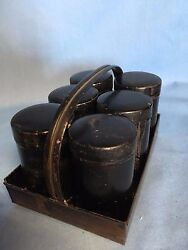 Antique Spice Tins In Tin Basket Tray 6 Canisters Authentic Americana Multi Uses