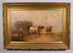 Antique Painting Of A Pastoral Scene With Cows/oxen By P. Schouten 1860-1922