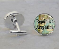 Choose South American City Or Country Vintage Map 925 Sterling Silver Cuff Links