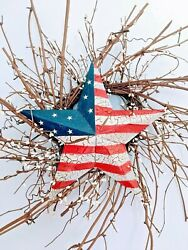 Primitive Rustic Country Wall Decor- 24 Inch Stars And Bars Primitive Wreath