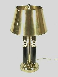 Vintage Mid Century Regency Double Socket Brass Lamp With Brass Shade
