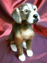Vintage Life Like REAL FUR Sit Dog Figure 8