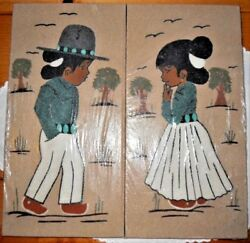 Vintage Set Of 2 Sand Paintings Young Boy And Young Girl Signed, New