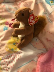 1996 Nuts The Squirrel Beanie Baby Errors Valentines Easter Vintage Toy Tree Rat