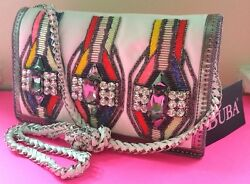 BUBA Cross Body Bag White Leather Clutch Rich JEWEL BEAD Embroidered Purse  $525.99