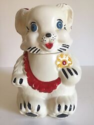 Vintage 1940and039s Royal Ware Smiling Bear With Cookie Ceramic 2pc Cookie Jar