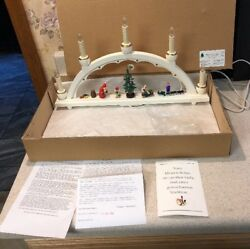 Erzgebirge Electric Candle Arch Christmas Village Germany Lighted In Box Rare