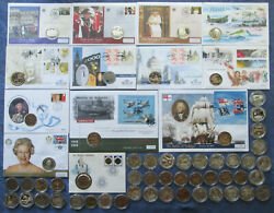 Alderney £5 Pound Crown Commemorative Coins, Base Metal And Silver, Bu And Proof