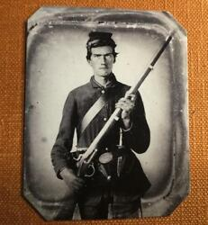 Civil War Union Uniformed Soldier With Musket Revolver Bowie Rp Tintype C1189rp