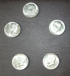 Lot Of 5 Uncirculated Silver Kennedy Half Dollars 1967