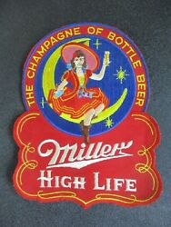 Antique 50and039s Miller High Life Beer Lady Toast In Motion Back Patch Bar Sign