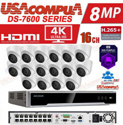 Hikvision Nvr Security System Kit 4mp 2.8mm Wd Purple Poe 4k-uhd H.265+ W/proof