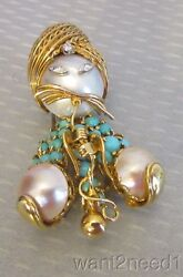 Vtg French 18k Gold Turquoise Pearl Diamond Hookah Swami Pin Signed Dessin Paris