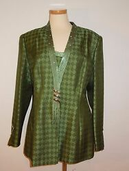 STUNNING STELLA LOUIS FOR KB GREEN EVENING JACKET RHINESTONES SIZE 16 WORN ONCE $32.95