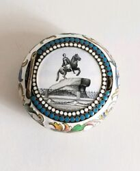 Rare19c Russian Gilt Silver Shaded Enamel Snuff Box Peter The Great