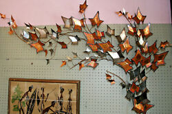 Vtg Large Mid Century Modern Autumn Leaves Wall Sculpture 1979 C Jere Signed