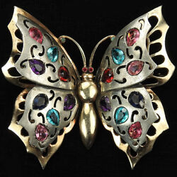 Deco Sterling Double Winged Scrolls Openwork Multicolour Stones Butterfly Pin