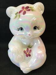Fenton Art Glass Hand Painted Mother Of Pearl Raised Hearts Bear Qvc