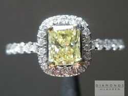 .46ct Fancy Yellow Si2 Radiant Cut Gia Halo Ring R5448 Diamonds By Lauren