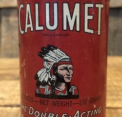 Vintage Antiqie Calumet Baking Powder Country General Store Indian Chief Tin