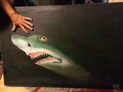 Sand Shark Picture Acrylic Painting By K. Kimes 1986 Copyright 46 X 30 Unfram