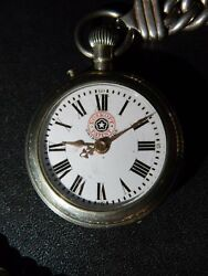 Vintage Roskopf Patent Red Logo Small Size Pocket Watch With 925 Silver Chain