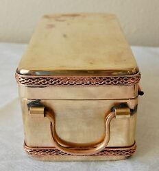 Antique Bronze And Copper Ornate Box Trinkets Jewelry Money Storage Collectible