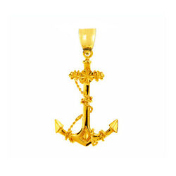New Real Solid 14k Gold 3d Ship Anchor With Sailor Rope Charm Pendant