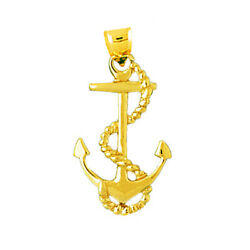 New Real Solid 14k Gold 28mm Ship Anchor With Sailor Rope Charm Pendant