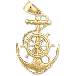 New Real Solid 14k Gold Sailor Rope, Ship Wheel And Anchor Charm Pendant
