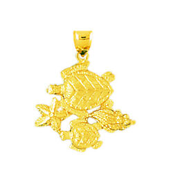New Real Solid 14k Gold Whelk Shell Starfish Sea Turtle Charm Pendant