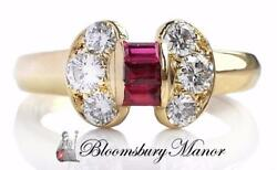 Vintage Vca 1980s And Mystery Set Ruby Diamond 18k Gold Bow Ring