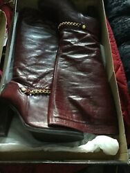Red Boots With Gold Chain Size 7 From River Island