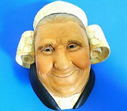 Bossons England Chalkware Head Bretonne Lady Wall Plaque 6 In Tall