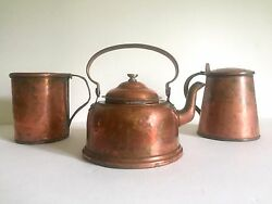 Antique 19th Century French Country Hand Forged Rustic Copper Cookware 3pc Set